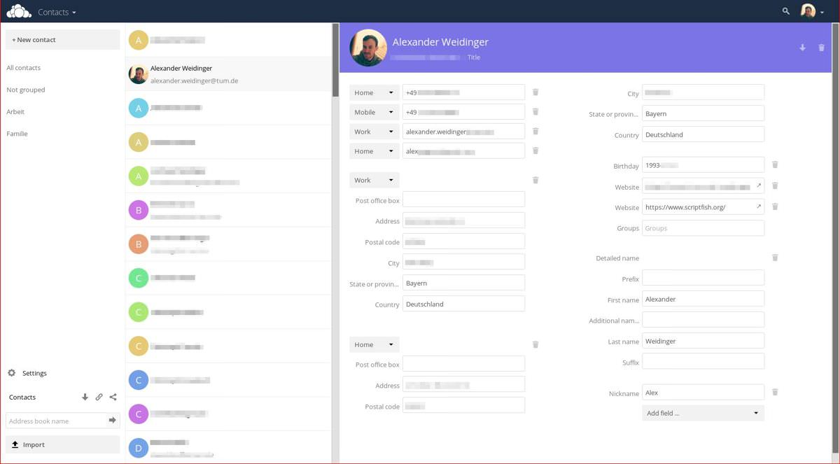 ownCloud's Contacts app