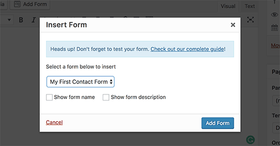 Select your contact form and add it