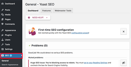 Yoast SEO settings