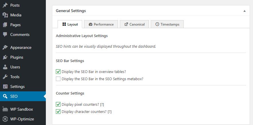 The SEO Framework settings screen.