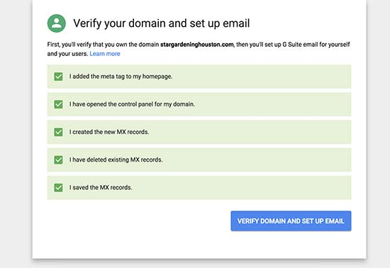 Verify domain and setup email