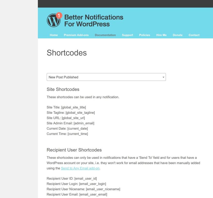 wordpress notifications