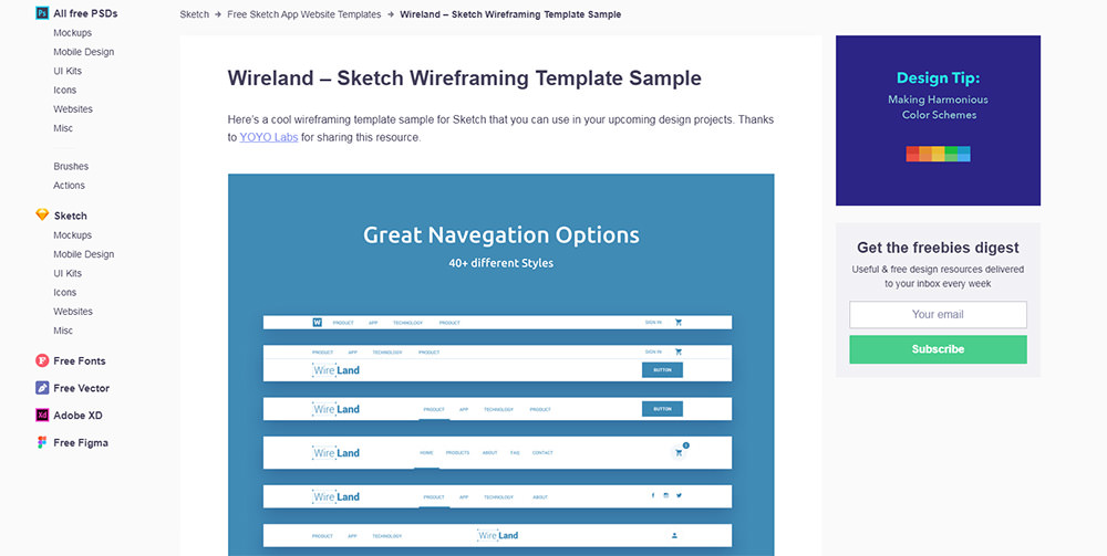 sample freebiesupply download page