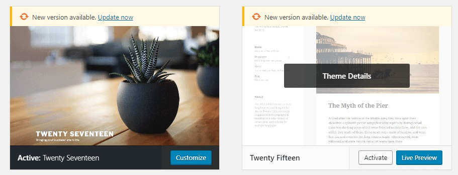 Switching active themes in WordPress.