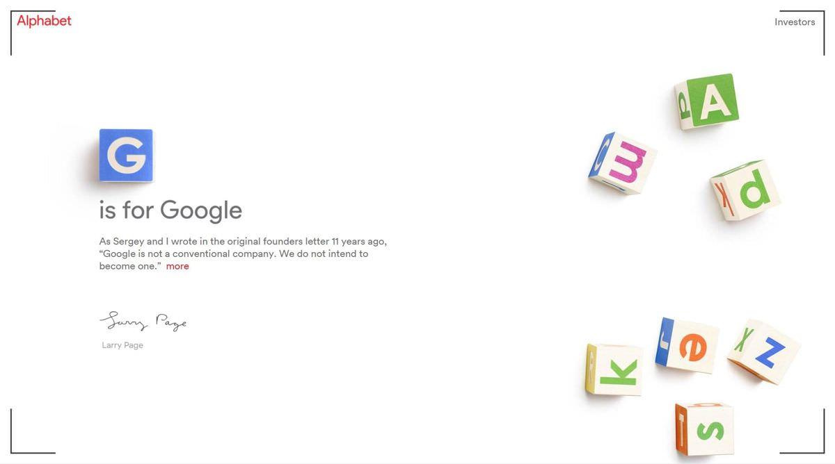 Alphabet is the parent of Google