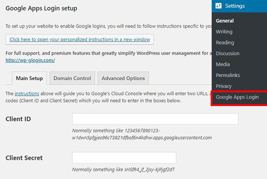 Apps login settings page