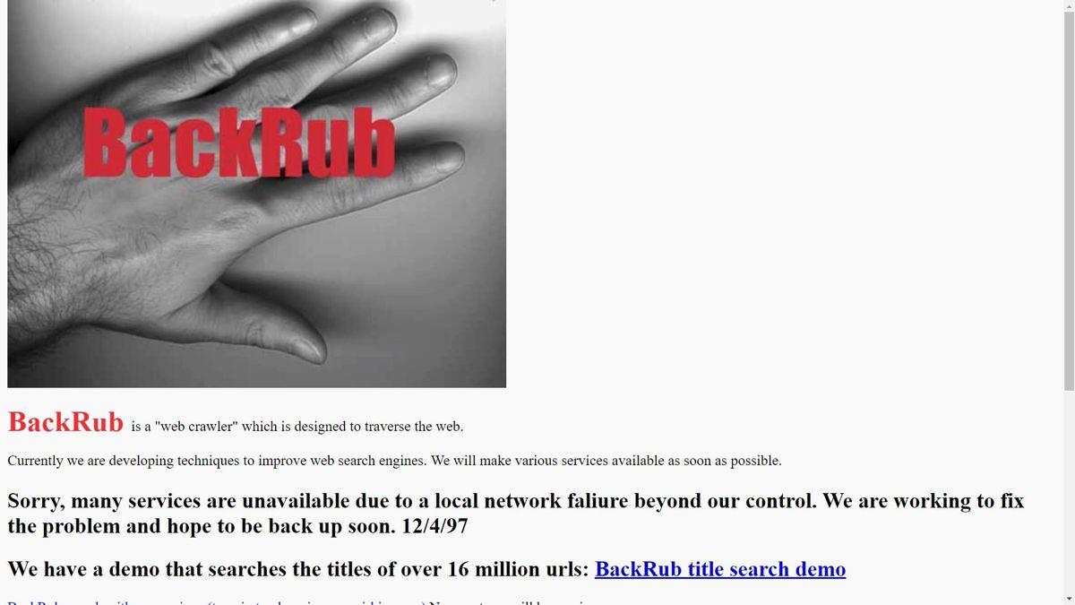 BackRub was the initial Google