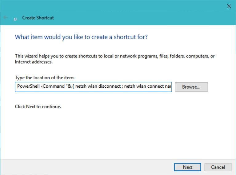 Create shortcut to run PowerShell command