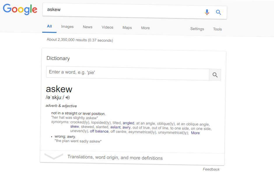 Google in askew mode