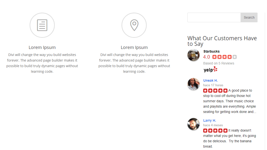 An example of a Yelp reviews widget.