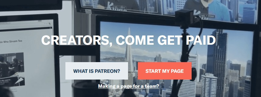 The Patreon homepage.