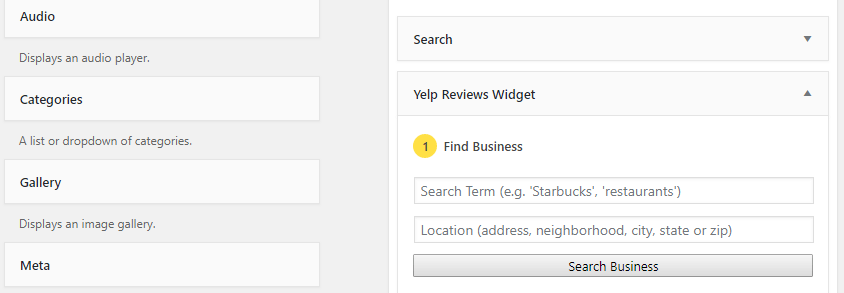 Placing the Yelp widget.