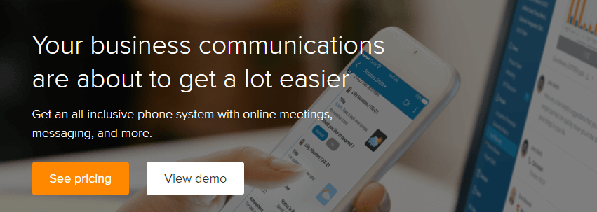 The RingCentral homepage.
