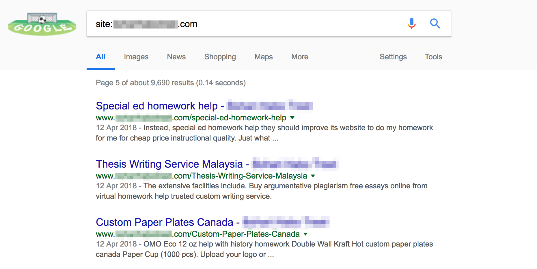 An example of spam pages created by BabaYaga in Google results.