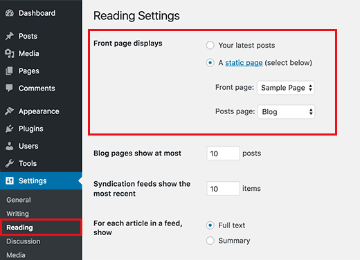 Select static front page and blog pages