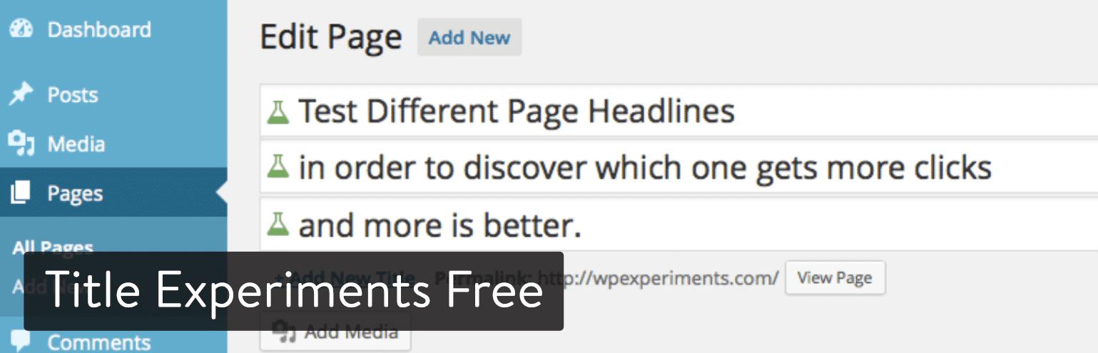 Title Experiments Free WordPress plugin