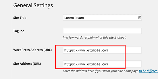 Update WordPress URLs