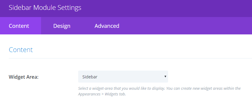 Choosing which widget area to display.