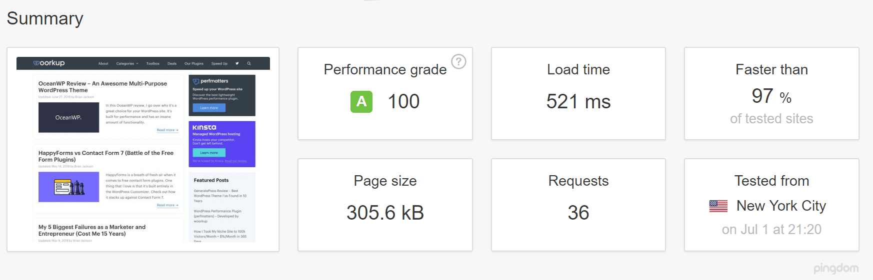 WordPress caching (speed test)