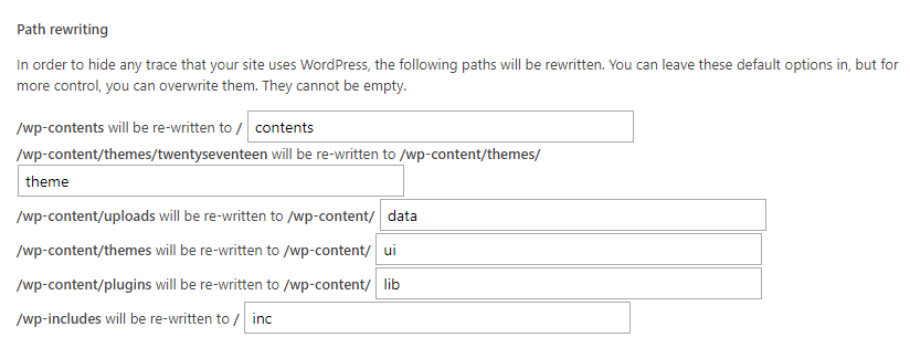Obscuring your WordPress settings.