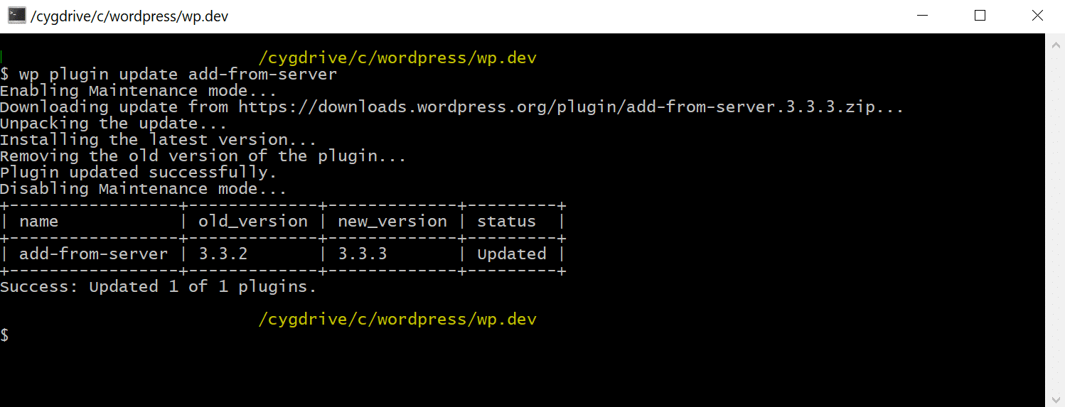wp-cli manually update wordpress plugin