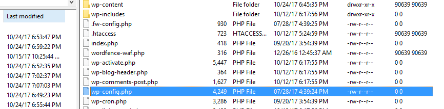 Opening your wp-config file.