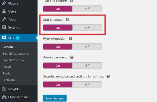 XML sitemaps option