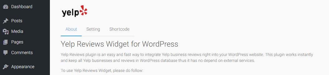The Yelp Review Widget plugin's settings tab.