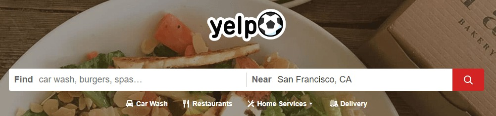 The Yelp homepage.