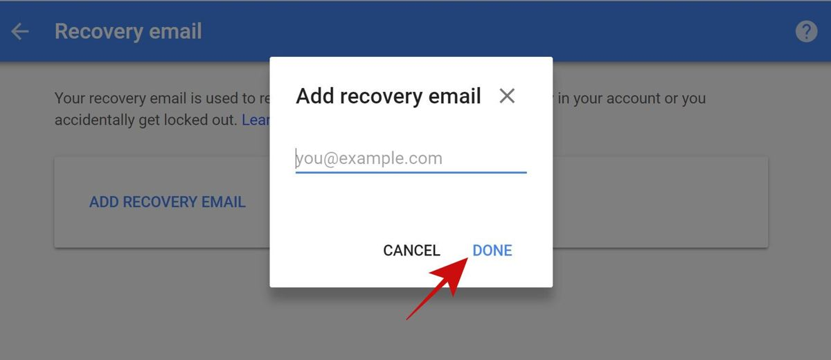 Add or change recovery email