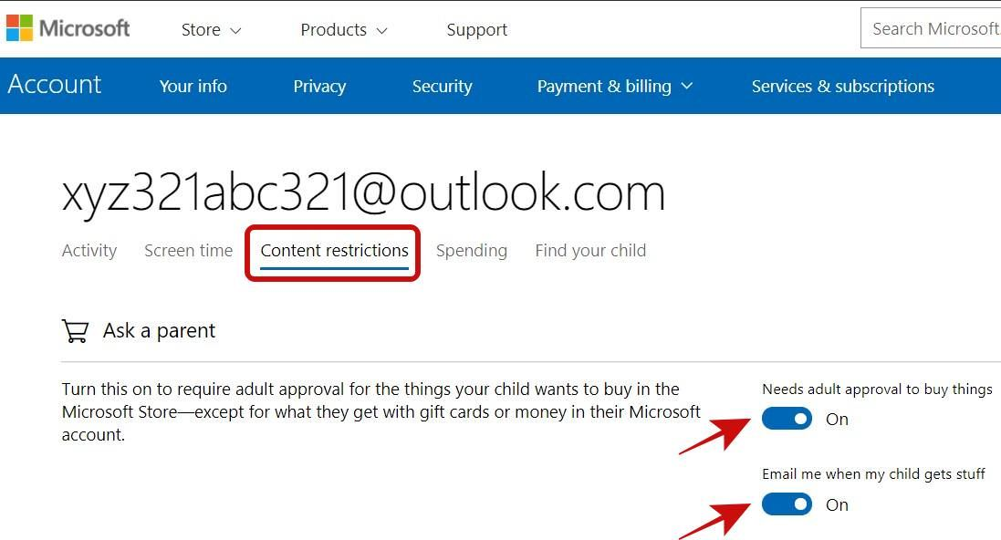 Add shopping restrictions for a child account