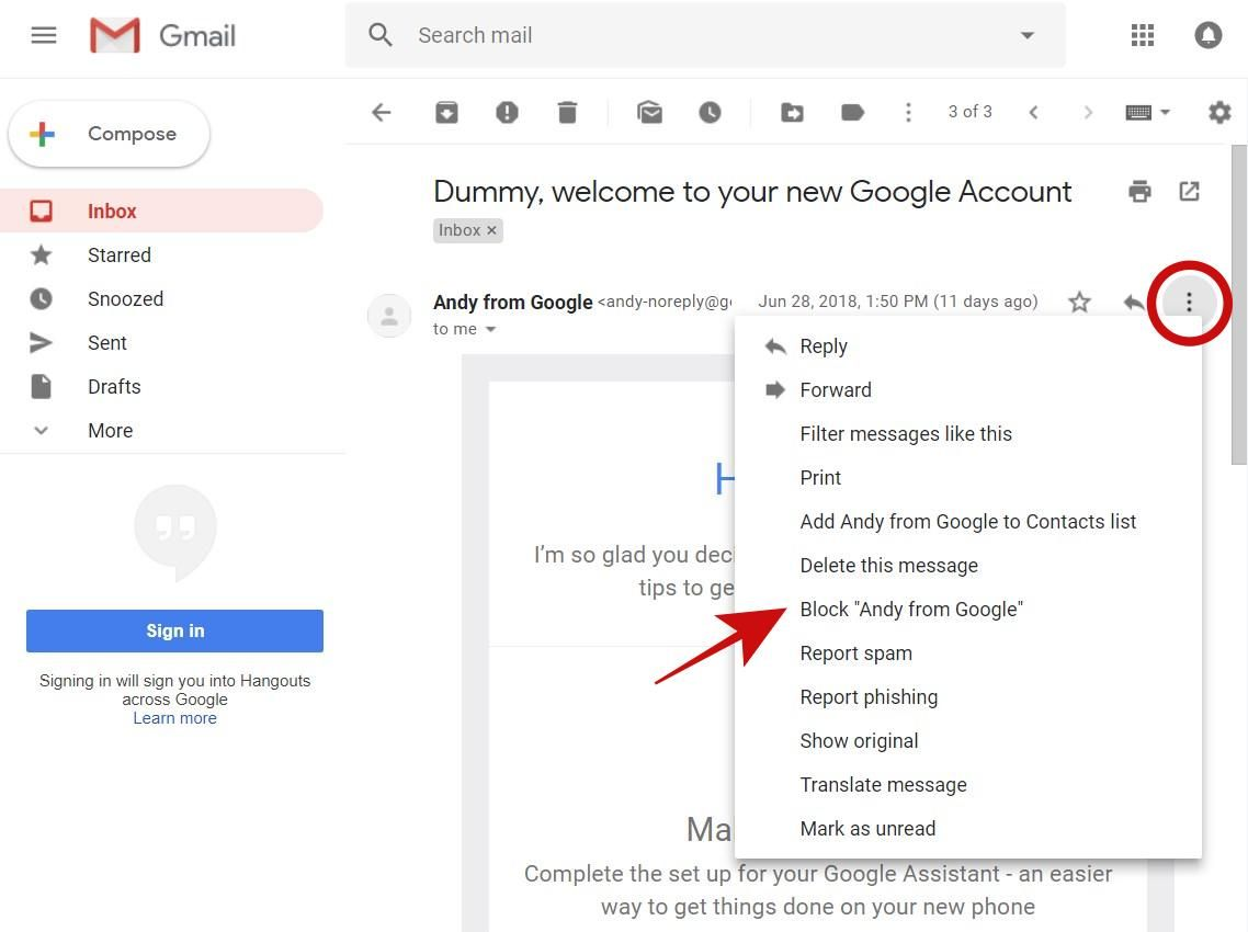 Block an email address in Gmail