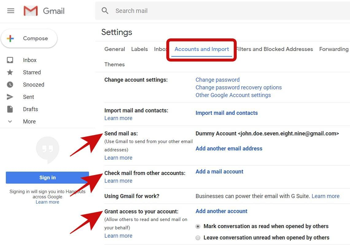 Check Accounts and Import tab in Gmail