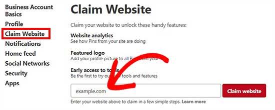Claim website