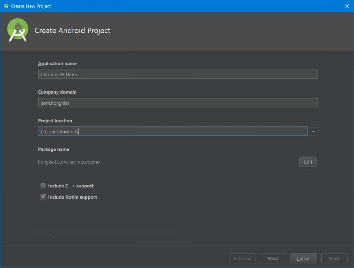 Create a project in Android Studio