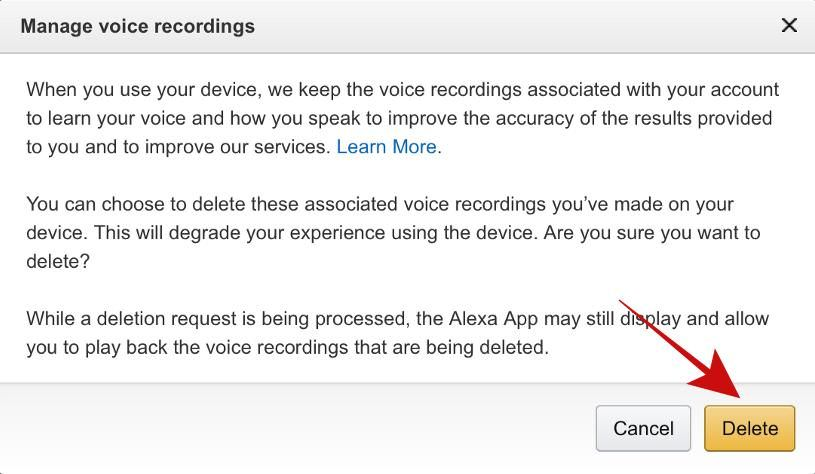 Delete all voice recordings in Amazon Alexa