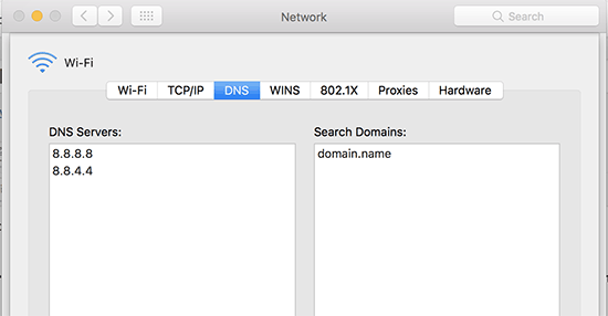 DNS settings on Mac