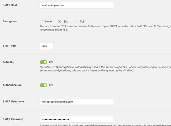 GreenGeeks SMTP settings for WP Mail SMTP