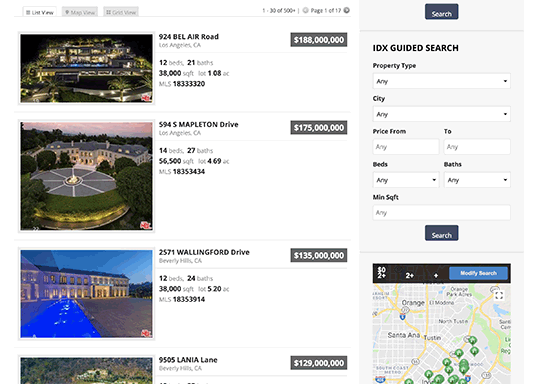 Preview of IDX listings displayed on a real estate website