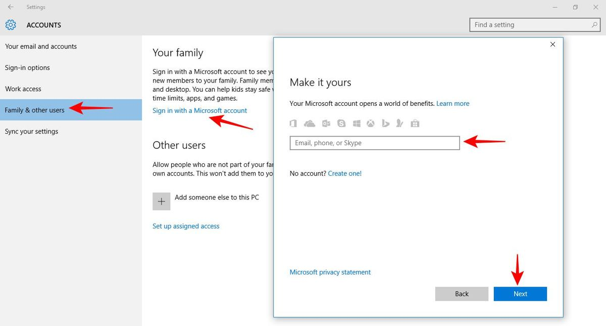 Log in to Microsoft family