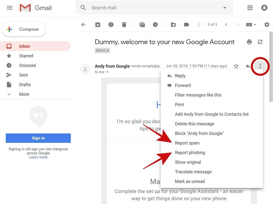 Report phishing/spam emails in Gmail