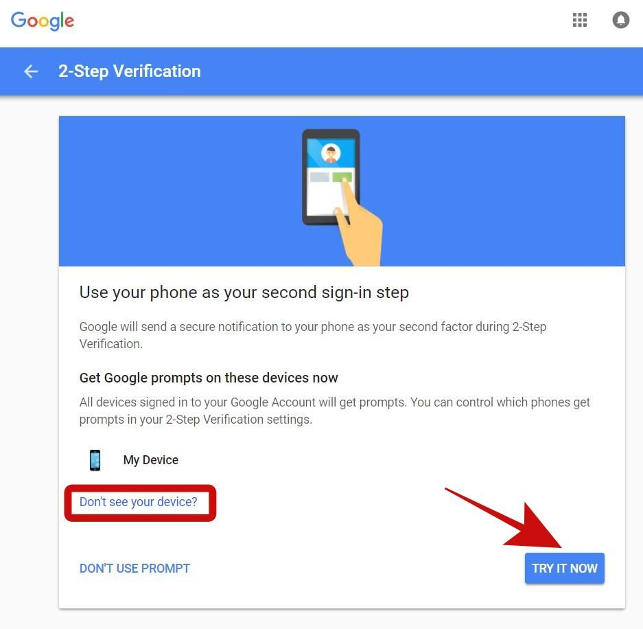 Use Google Prompt as the 2-Step Verification