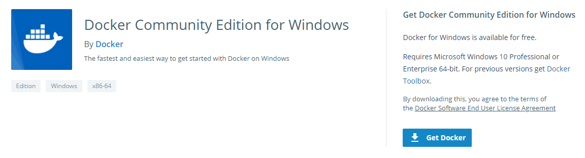 Downloading the Windows version of Docker,