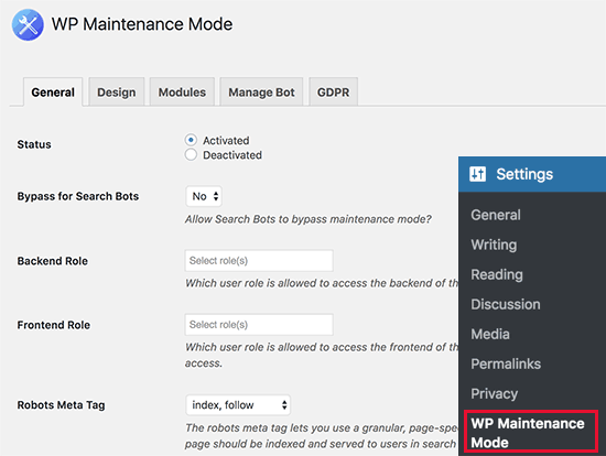 WP Maintenance Mode