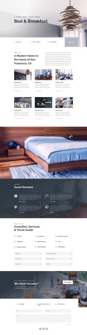 divi bed and breakfast layout pack