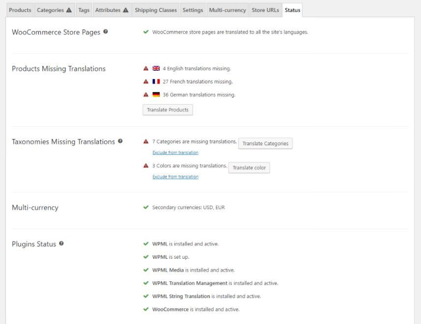 Checking status of WooCommerce Multilingual