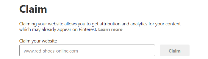 Claiming your website on Pinterest.
