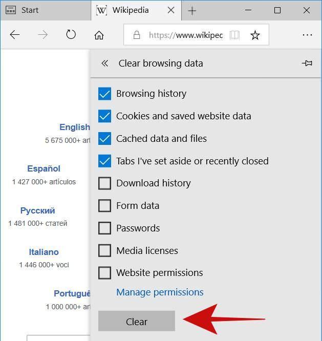Clear history in Microsoft Edge