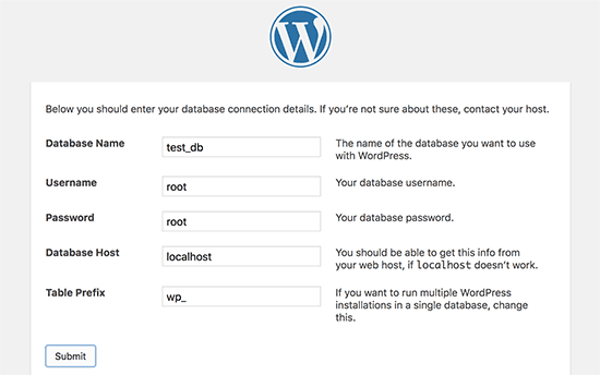 Enter your database information