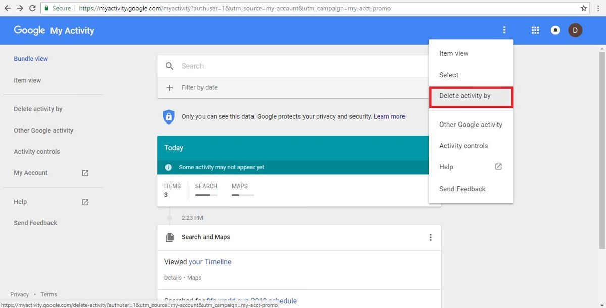 Delete activity by time or product in Google